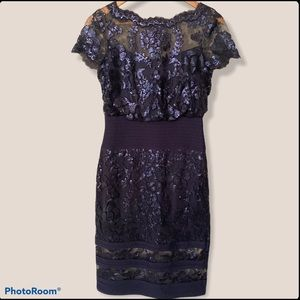 Tadashi Shoji Navy Blue Sequin Illusion Lace Fitted Cocktail Dress - 2